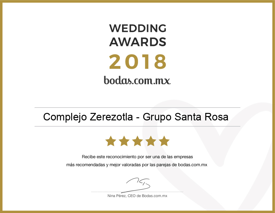 Ganador Wedding Awards 2018 - Complejo Zerezotla de Grupo Santa Rosa